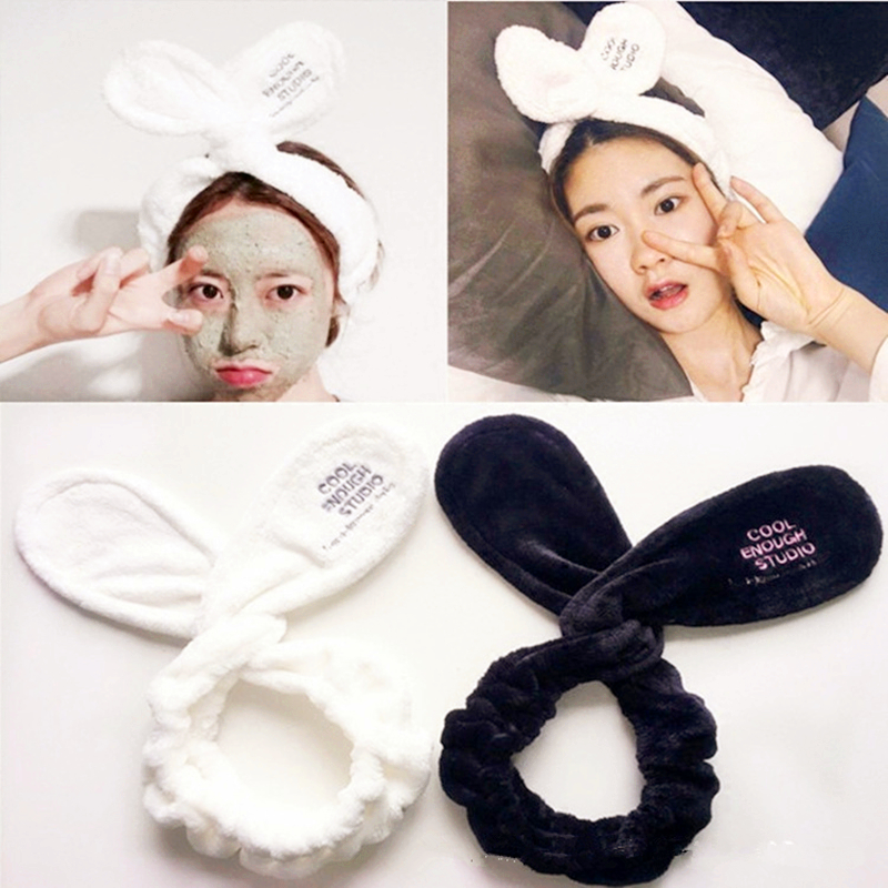 TwistTurban   Headwear   Velvet Rabbit Ears Headband Soft Towel Hair Band Wrap Headband For Bath Spa Make Up Women Girls Accessories