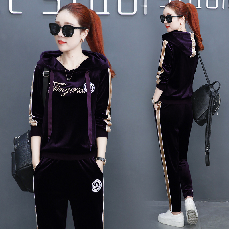 Spring And Autumn New Casual Sportswear , Womens Velvet Was Thin Korean Fashion Two Sets ...