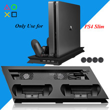 PS4 Slim Vertical Stand met Cooler Cooling Fan Controller Charger Charging Dock Station Play Station 4 PS 4 4 S Spelletjes accessoires(China)