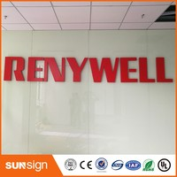 3D led red color acrylic letters sign for shops