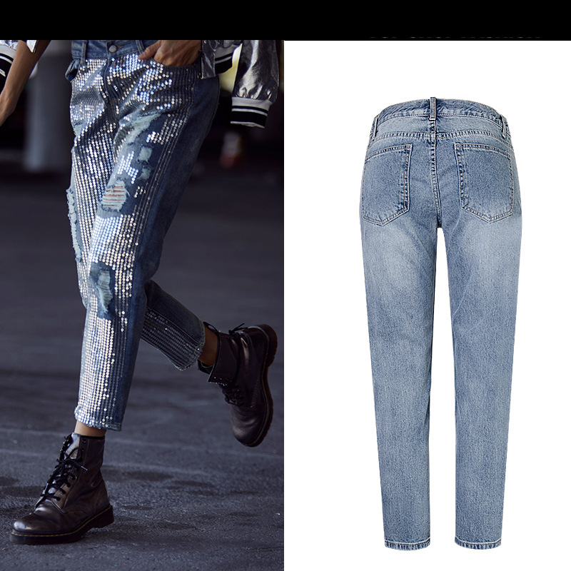 18 Fashion Hole jeans woman ripped jeans for women jeans Sequined mujer femme denim jean pants Scratched pantalones feminino 7