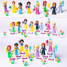 New 8pcs Fairy Tale Princess Girl Model Building Kits Doll Figures Bricks Blocks Kid Friends Children Toys Gift цены онлайн