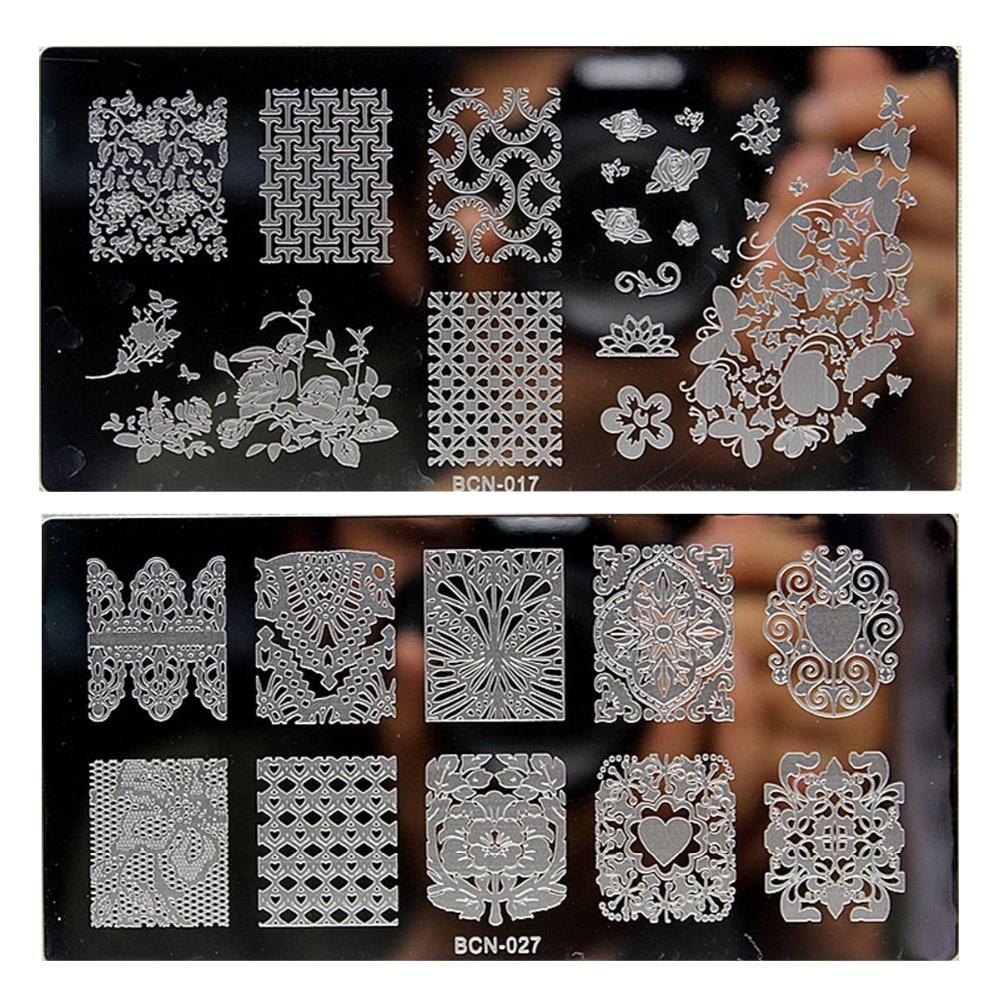 modelos de arte do prego 10 pcs lote laco preto rosa projetos placas de carimbo imagem