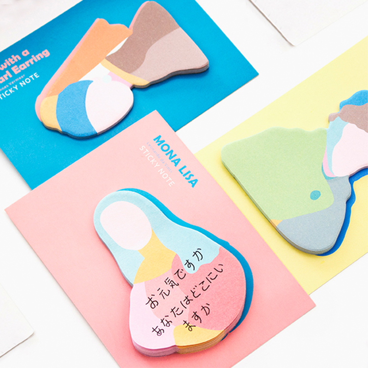 4pcs/lot Creative Oil Painting Series N Times Sticky Notes Post Shaped Note Color Guestbook School Supplies Stationery