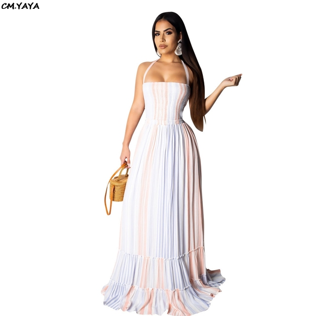 02df686e7d78 Beach boho sexy women halter sleeveless open back colorful stripes ruffles  hem maxi dress floor length pleated long dresses 3516