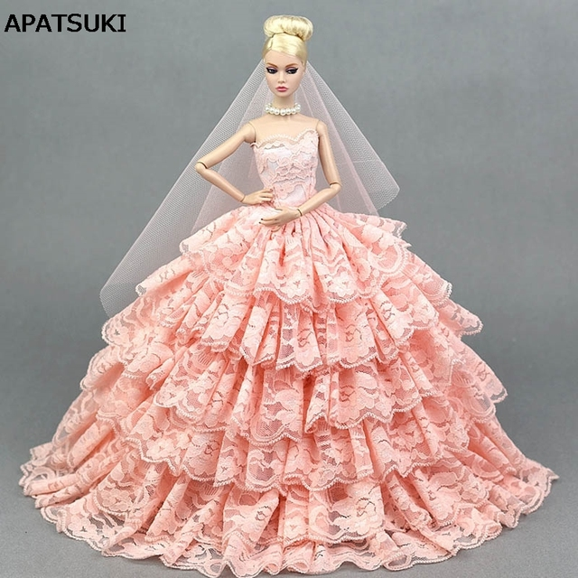 Pink Lace Wedding Dress for Barbie Doll Princess Evening Party Clothes  Wears Long Dress Outfits With Veil 1 6 Doll Accessories ddd8934a113d