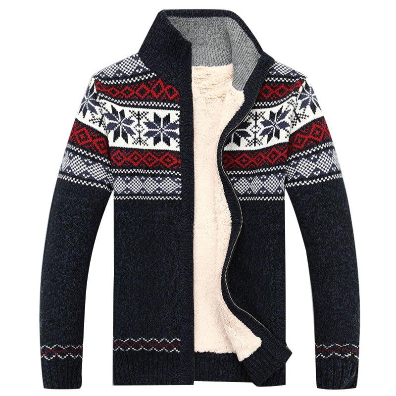 Men Velvet Sweatercoat Winter pattern style Wool Cardigan Male Casual Thicken Warm fleece Sweater for Man Hombre size S-3XL