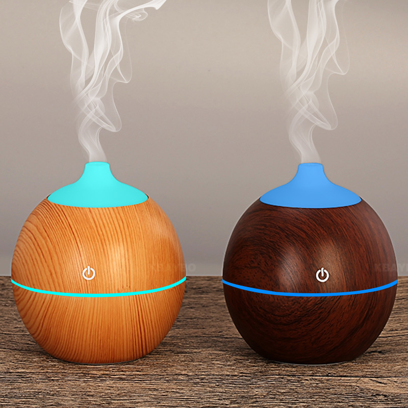 130Ml Aroma Essential Oil Diffuser USB Ultrasonic Wood Air Humidifier With Wood Grain 7Color Changing LED Lights For Home