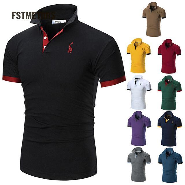 2b3e546f43a105 2018 FSTMETORS Heren Polo Shirt Merken Mannelijke Korte Mouwen Casual Slim  Effen Kleur Herten Borduren Polo