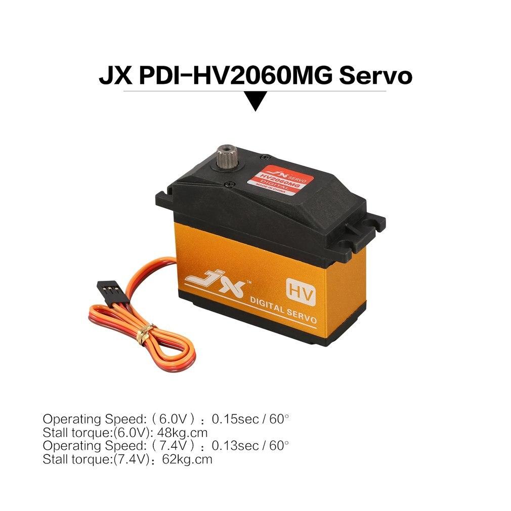 JX PDI-HV2060 RC servo MG métal 6.0-7.4 V numérique HV Servo 62 kg couple Aluminums cas sans noyau partie pour 1/5 RC voiture RC accessoires