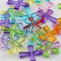 ¡ Caliente! 100 Unids Color mezclado de Acrílico Transparente De Plástico Q600 Columnar Cross Pequeños Colgantes 27.5*19.5mm