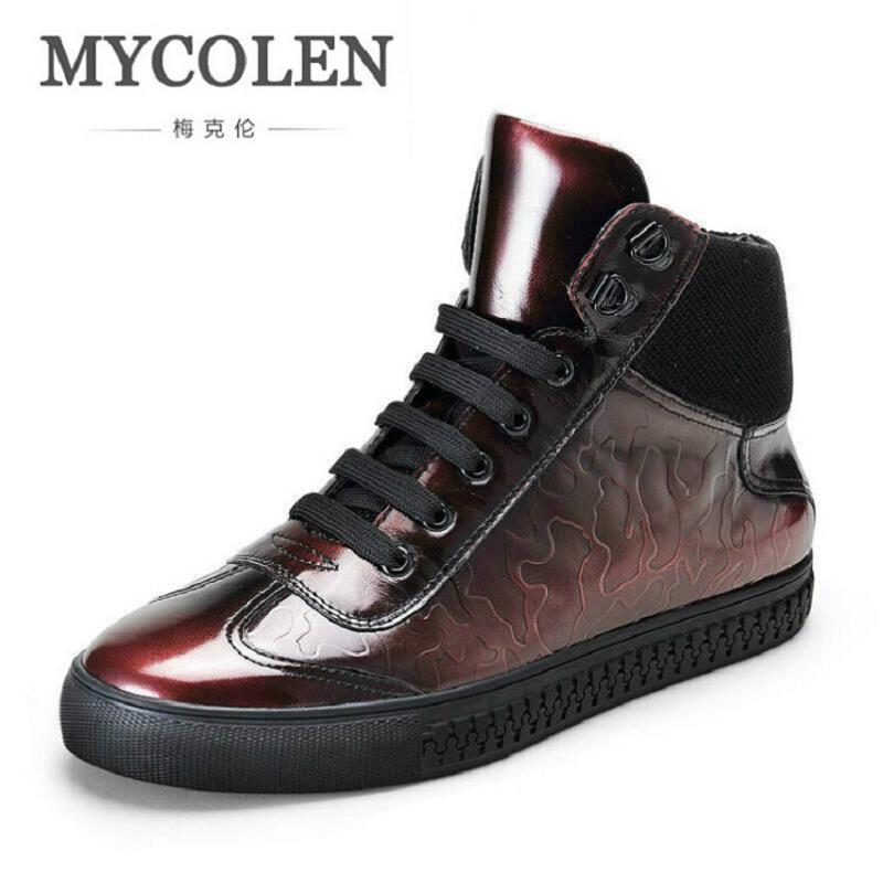 Mycolen Botas Inverno Homem Sapatênis vermelho Tornozelo Casuais Sapatos Moda Cinza Outono Homens Couro Marca De Genuíno Da Personalidade gqrfAg