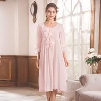 Cute Night Long Dress Three Quarter Sleeves Nightgown with Satin Bows Princess Sleeping Dress Womens Night Gowns Sleepwear