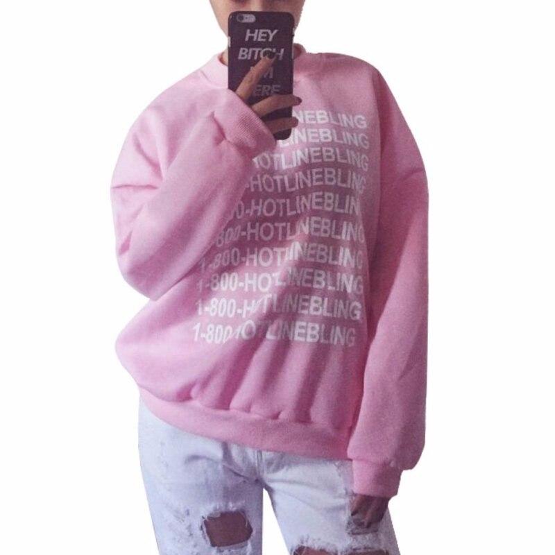 Autumn Fashion Women Pink Fleeced Thick Warm Hoodies Pullovers 800 Hotline Bling Winter Sweatshirts New 7