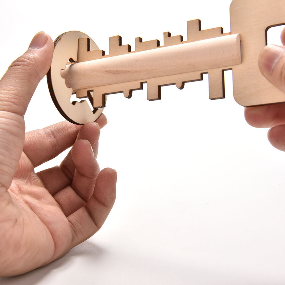 New Wooden Unlock Puzzle Key Classical Funny Wood Kong Ming Lock Education Toys Game