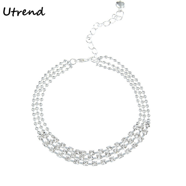 Utrend Multi-layer Sexy Crystal Rhinestone Anklet Foot Chain Summer Leg  Bracelet Charm Anklets Beach Foot Wedding Jewelry Gift a7265afd2b85