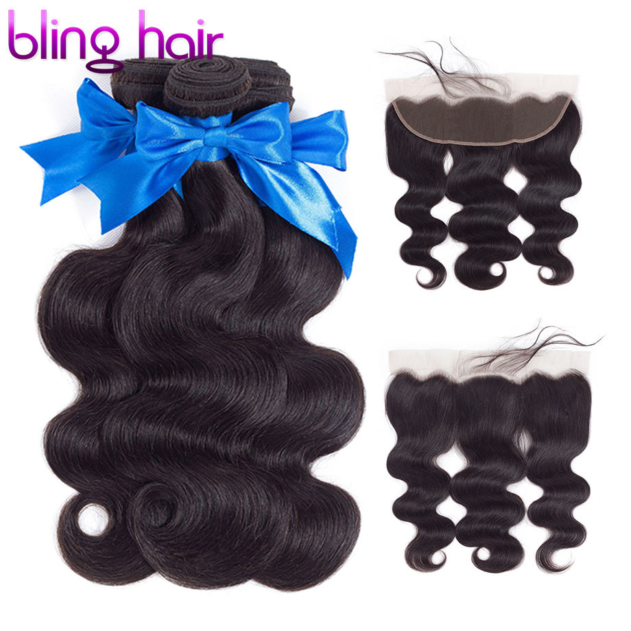 Bling Hair Extension Body Wave Human Hair Bundles With Closure Brazilian Hair Weave Bundles With Frontal