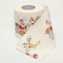1 рулон картинка с Санта-Клаусом Печатный дизайн туалетной ткани милый ремесло безопасной гигиенической санитарной бумаги рождественские украшения для рождественской вечеринки