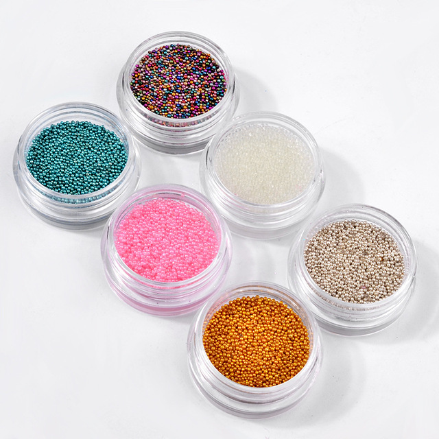 6 Unids Micro Perlas de Caviar de Uñas Set de Manicura 3D Mini Bola ...