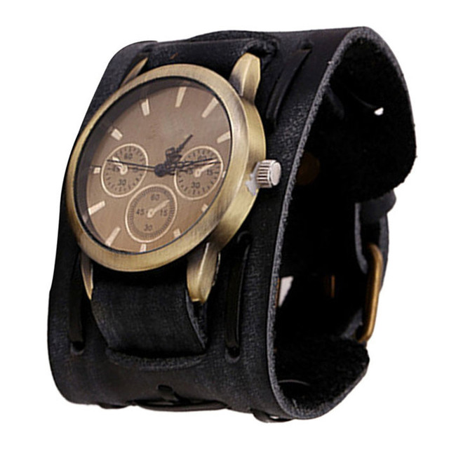 2017 New Style Retro Punk Rock Brown Big Wide Leather Bracelet Cuff Men Watch Cool Good Design For Perfect Gift