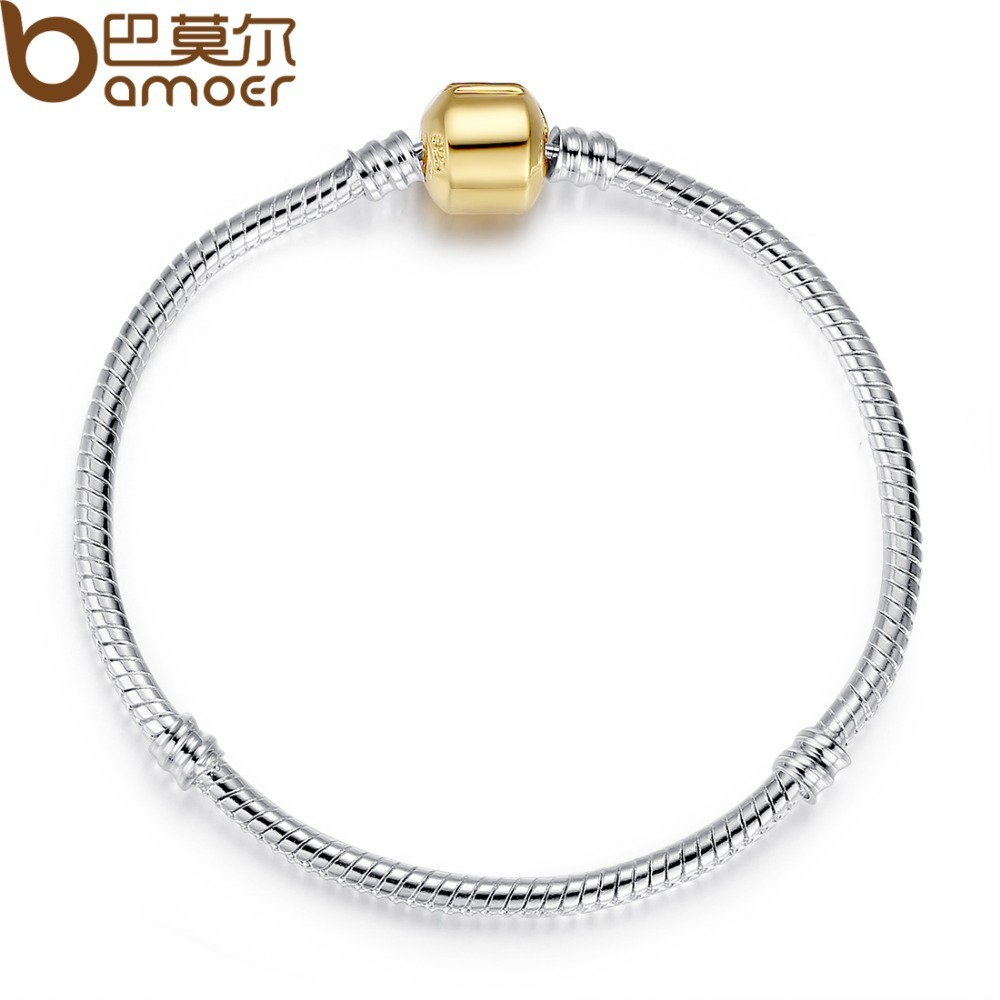 European Silver Snake Chain Bracelet with Barrel Clasp fit for Bead Charms 18CM 20CM 21CM PA9001 BAMOER