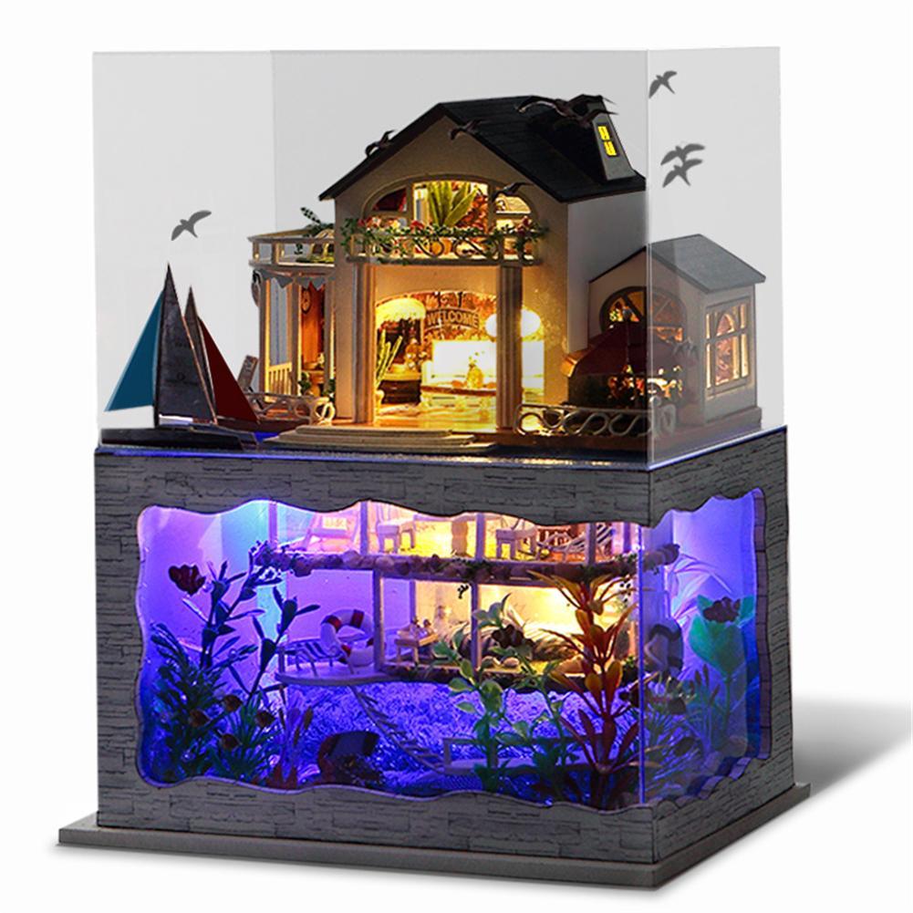 MINOCOOL Hawaii Style maison de poupée bricolage à deux étages avec couverture anti-poussière maison de poupée jouets avec meubles LED lumières cadeau d'anniversaire