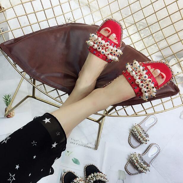 Diseño Plata as Puerta Marca Mezclados Señoras Diapositivas Crystal Satén Mujer Zapatos Picture Zapatilla Negro De Rojo As Nuevo Colores Perlas Cordón Picture ABv0B