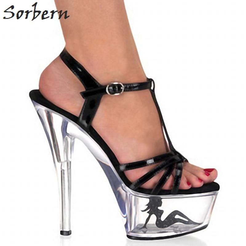 3ba5e0b2dbc15b Designer Cheville Haute Plate forme Sandales Noir Taille Femmes Chaussures  Talons multi 2019 Sangle 10 De ...