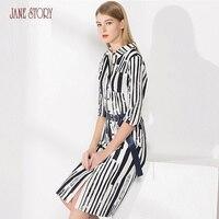 Джейн Story 2018 осеннее женское платье фигурный вырез горловины с принтом в полоску платье три четверти рукав Однобортный Офисные женские туфл