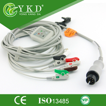 5PCS/Lot One-piece  ECG cable and leadwires with 6 Pin 5 leads clip for CSI ,CE and ISO 13485 Approved