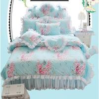 Korean Pastoral Style 100% Cotton Rose Printing White Lace Ruffled Bedding Set Princess Blue Duvet Cover Sheet Set 4pcs/3pcs