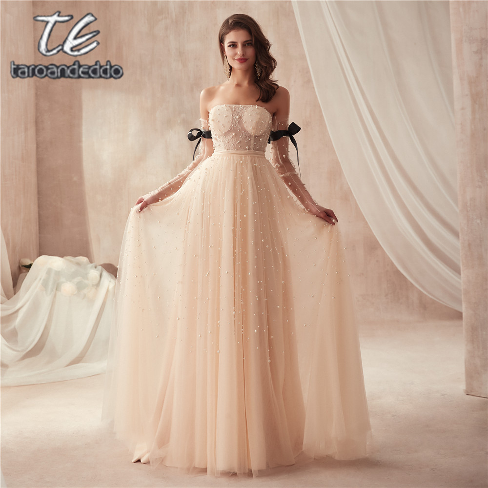 Strapless Champagne Full Pearls Floor Length Long Sleeves Prom Dress Bling Bling Evening Gowns with Black