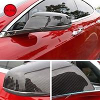Углеродное волокно заднего вида боковое зеркало крышки протектор сразу добавить на для 2014 2018 Tesla Модель S внешние аксессуары