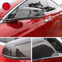 Углеродное волокно заднего вида боковые зеркала крышки протектор прямой добавить на 2014 2018 Tesla Модель S внешние аксессуары