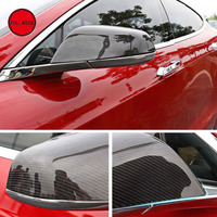 Carbon Fiber Rearview Side Mirror Covers Caps Protector Direct Add On for 2014 2017 Tesla Model S Exterior Accessories