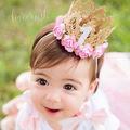 1PC Retail Newborn Baby Birthday Crown Headband Flower Lace Gold Tiara Headband for Baby Girls Party Hiar Band Accessories Gifts