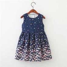 Милое летнее платье для маленьких девочек платье без рукавов с рисунком цветов и бабочек детская одежда сарафан для малышей