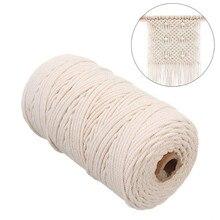 OIZEN Set Corda Cotone Naturale Macrame 4 Bastoncini di Legno per Arazzi macram/è Grucce di Piante e Tenda 3 mm x 100 m Macrame Cord con 120 Perline di Legno 8 Anelli di Legno