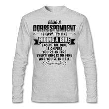 Men's Boy Geek Being A Correspondent T-shirt Custom Long Sleeve Family Bottoming Shirts Men