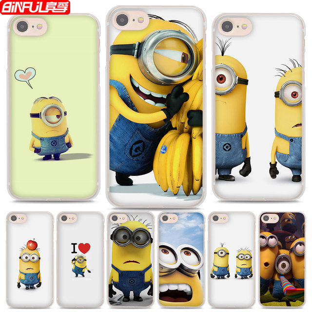 BiNFUL Hot Sale Cute Minions Banana Style Hard Clear Phone Cases Cover For  Apple IPhone 7