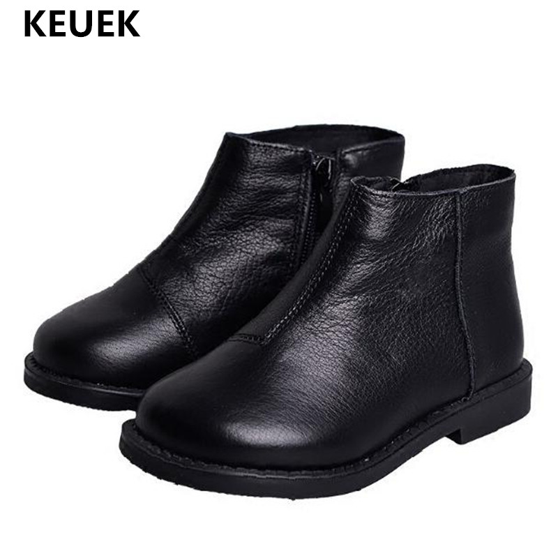 2018 New Children Martin boots Autumn/Winter Boys Girls Genuine Leather Side zipper Fashion Ankle Boots Kids Shoes Baby 018 2016 winter children genuine leather boots brand boys cotton buckle shoes fashion ankle martin boots for kids