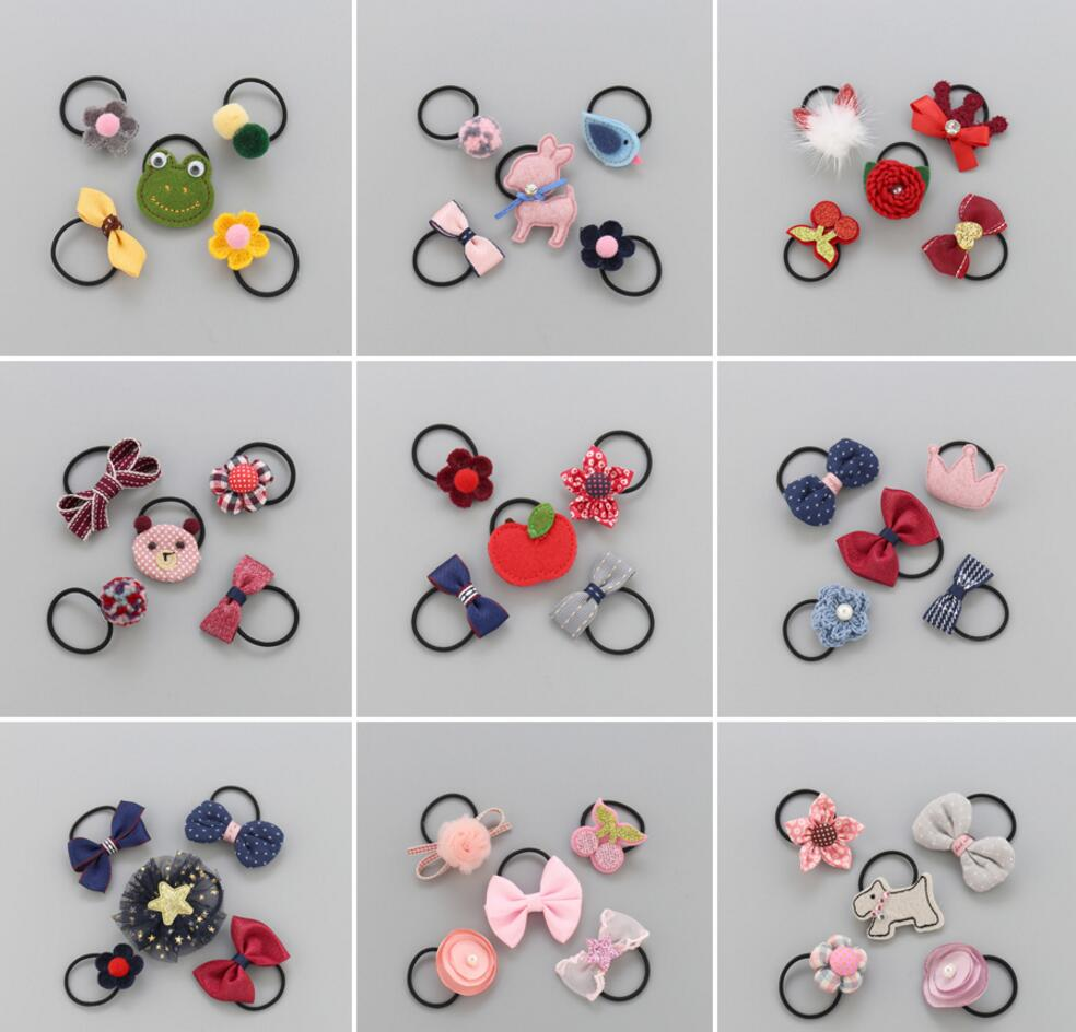 2018 NEW Kids cartoon animal flower hair bow elastic hair band girls rubber band Korean toddlers hair ties ring hair accessories grosgrain ribbon kids boutique hair bow alligator clip toddlers elastic hair rubber bands hair ties girls hair accessories z21