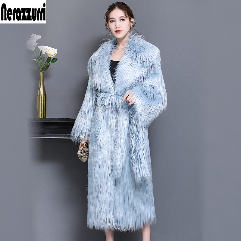 Nerazzurri Winter Faux Fur Coat Women Extra Long Hairy Thicken Warm Belt Fake Fur Overcoat Plus Size Shaggy Outwear 5xl 6xl 7xl