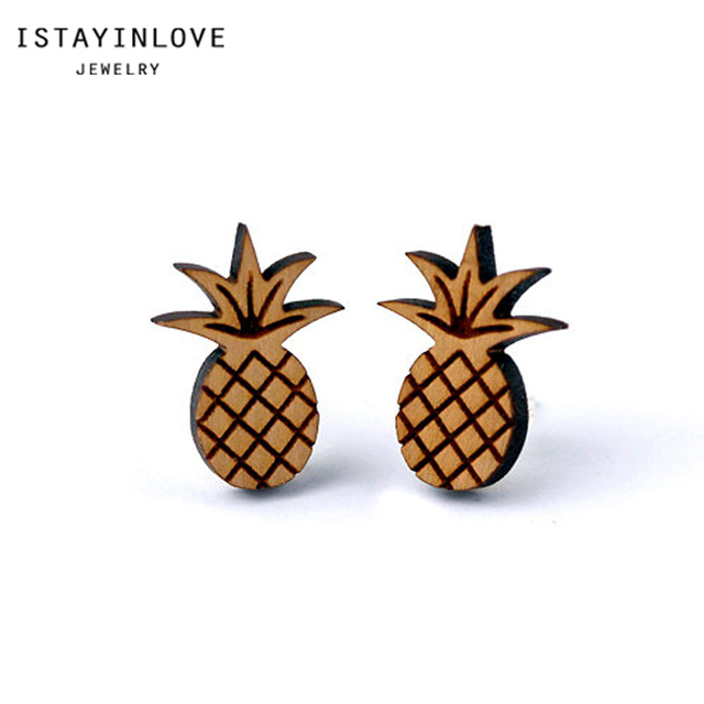 Istayinlove Jewelry Laser Cut Wooden Plant Jewellery Mini Wood Etched Pinele Stud Earrings With Silver Ear