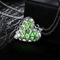 Mujeres de la moda de Joyería de Plata Plateó la Cadena de Acoplamiento Glow In The Dark luminoso Grabado Flor Del Corazón Colgante de Collar para Las Mujeres