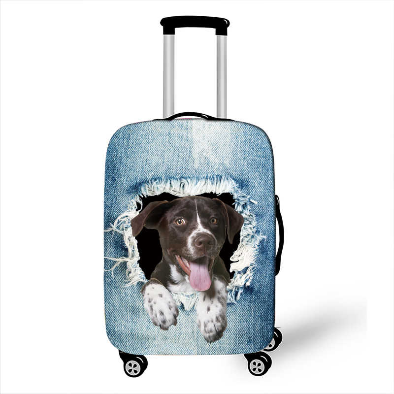 Bonito gato/cão no buraco impressão capa de bagagem para bagagem de viagem capa de mala elástica capa de mala anti-poeira trole capas de caso