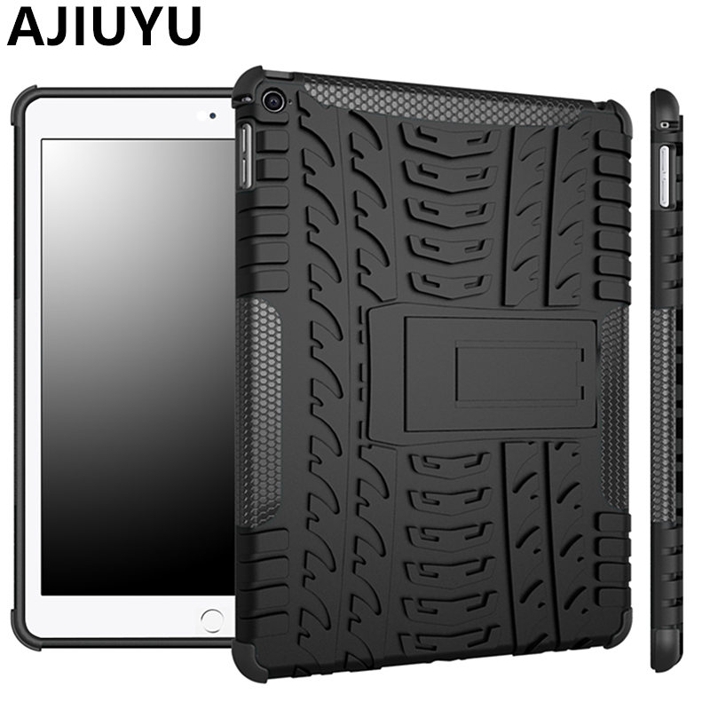 AJIUYU Case For iPad Air 2 9.7 inch Case Air2 Armor Shockproof Heavy Duty Silicon+PC Stand Smart Cover Protective shell TPU Case case for ipad mini 123 tablet character three layer heavy duty armor shockproof silicon hard protective shell