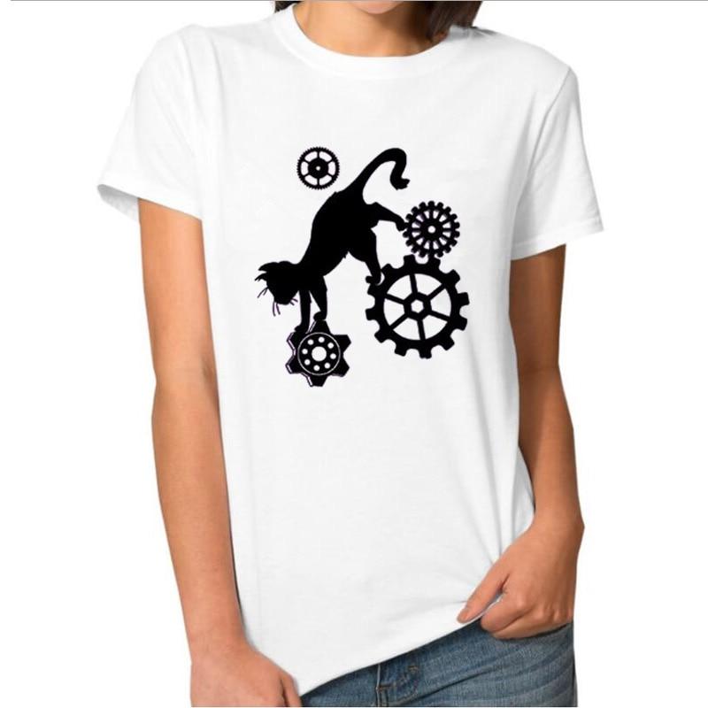 Goth Black Fantasy Cat T-shirt Steampunk Gears Kawaii Noir Cute Women Tops Harajuku Punk Tumblr Hispter Fashion Tee Shirt Femme