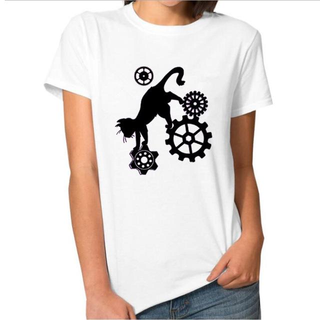 Fantasy Cat T-shirt Steampunk Gears