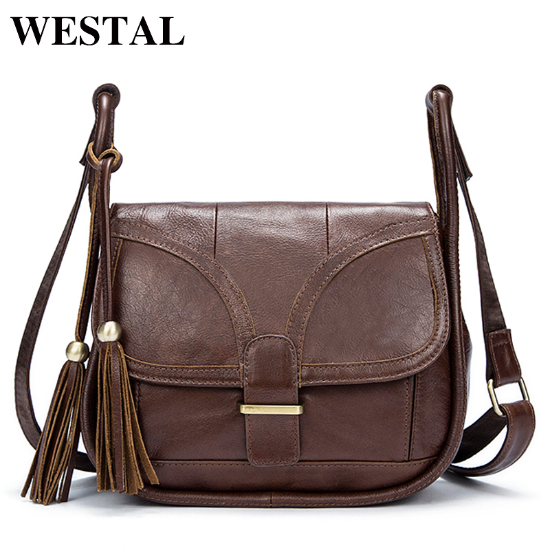 WESTAL Messenger bag Women's shoulder bag ladies genuine leather Fashion Female crossbody bags for women leather handbags 8924 zency new women genuine leather shoulder bag female long strap crossbody messenger tote bags handbags ladies satchel for girls